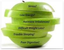 Sliced apple sections showing stress, low energy, hormone imbalance, difficult weight loss, trouble sleeping and poor digestion?